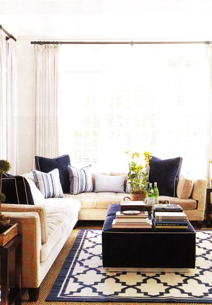 living rooms - trellis rugs, blue trellis rugs. navy blu trellis rug, white and blue trellis rug, moorish tile rug, navy moorish tile rug, tufted sectional, tufted sectional sofa, navy blue ottoman, navy tufted ottoman, navy blue velvet ottoman, navy velvet ottoman,