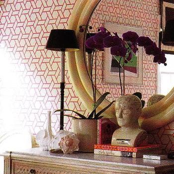 entrances/foyers - geometric wallpaper, pink geometric wallpaper, white and pink geometric wallpaper, Phrenology Head,  Adore this geometric