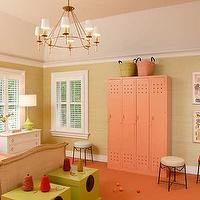 girl's rooms - round mirror, girls room, pink and green girls room, kids room lockers, green trunks,  Girls room pink and green  tan walls paint