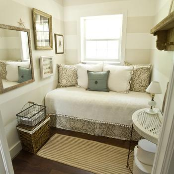 The Lettered Cottage - dens/libraries/offices - striped walls, reading nook, daybed, reading nook, horizontal striped walls,  Love this small