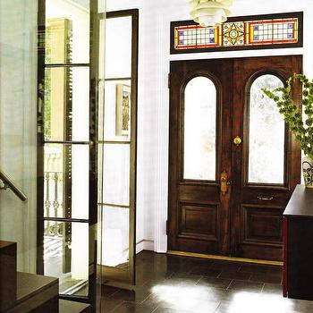 entrances/foyers - bi fold doors, glass doors, glass bi fold doors, stained glass window,  Adore these bi-fold glass, French doors  Magnificent