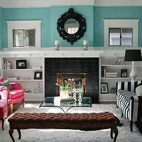 Nest Instinctual Interiors - living rooms - turquoise, blue, ornate, black, mirror, fireplace, white, built ins, striped, sofa, black, lampshades, tufted, bench, pink, arm chairs, bungalow,