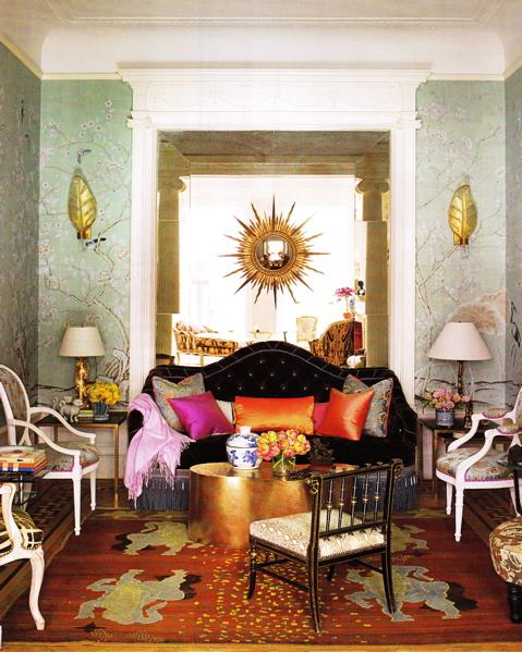 living rooms - green, blue, black, orange, pink, brown, gold, sunburst, mirror, velvet, brown, tufted, sofa, brass, lamps, gold leaf, , accent tables, coffee table, French, Louis, chairs, painted floor, gold-leaf, sconces, crown molding, green, blue, wallpaper,