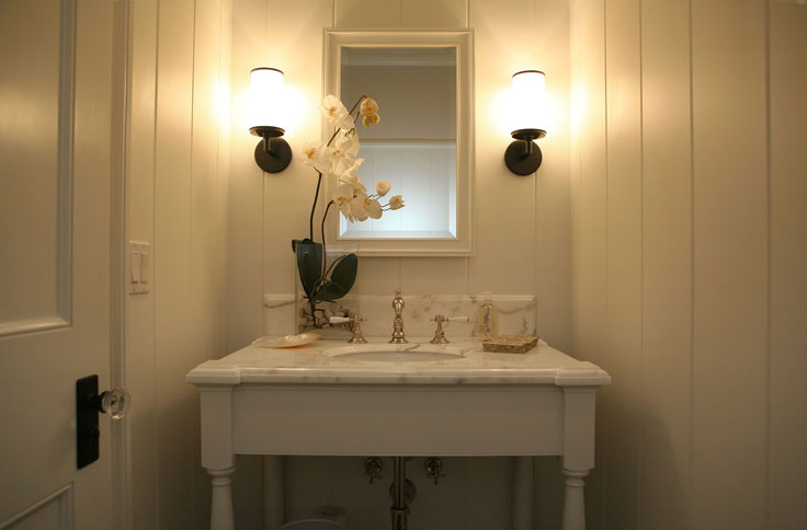 Suzie: Brooke Giannetti  219 North Cliffwood  Elegant, small powder room design with white wood ...