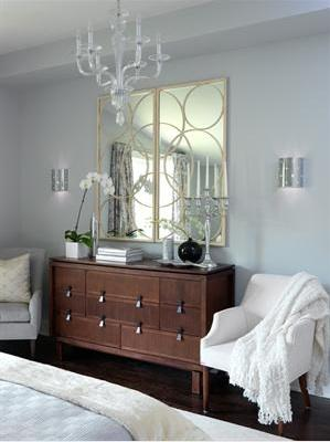 bedrooms - Arteriors Nikita Mirrors, Bedroom, dresser, circles mirror, sconces, glass chandelier,  My favorite mirrors