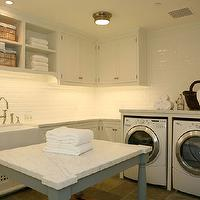Giannetti Home - laundry/mud rooms - laundry room, laundry room cabinets, white laundry room cabinets, U shaped laundry room, 2nd floor laundry room, laundry room island, farmhouse sink, laundry room with farmhouse sink, subway tile backsplash, Sienna Flush Mount Light,