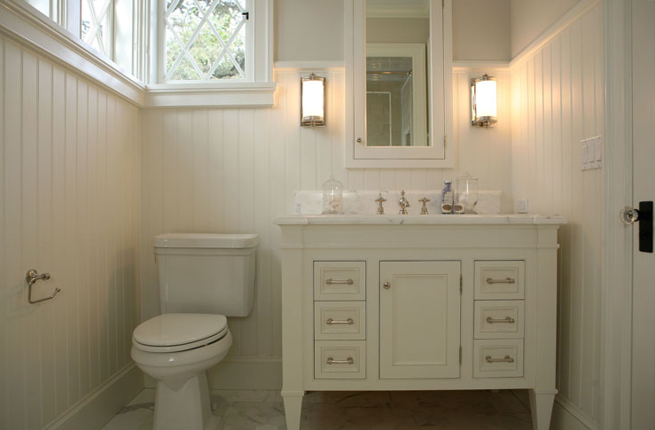 Giannetti Home - bathrooms - Dresser Short Sconce, guest bathroom, cream cabinets, cream bathroom cabinets, cream vanity, cream bathroom vanity, guest bathroom ideas, cottage bathroom, s, cottage guest bathrooms, beadboard guest bathroom beadboard, beadboard backsplash, inset medicine cabinet, cream medicine cabinet, white marble countertop, cream vanity with white marble top,