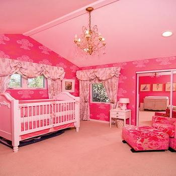 nurseries - hot pink nursery, pink valance, pink curtains, hot pink nursery glider, pink crib bedding, pink ceiling,  Tori Spelling  Pink wallpaper,