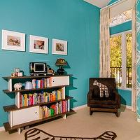 nurseries - turquoise nursery, turquoise blue nursery, nursery bookcase, velvet glider, velvet nursery glider, brown nursery glider, brown velvet nursery glider, rocker, nursery rocker, brown rocker, brown velvet rocker, vaulted ceiling, nursery with vaulted ceiling, vaulted ceiling nursery, turquoise nursery, turquoise and brown nursery, Zebra Rug,