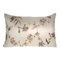 Pillows - Natural Floral Embroidered Silk Pillow In Decorative Pillows From Bellacor - pillow, embroidered