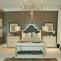 bedrooms - taupe paint, taupe paint colors, taupe paint color, taupe walls, monogrammed shams,  Hollywood Regency esqe bedroom  taupe walls paint