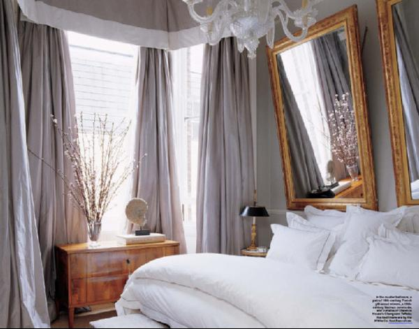 Elle Decor - bedrooms - gray, silk, drapes, gold, gilt, mirrors, honey, wood, gold, white, bedding, chandelier, gray, walls, paint, color, gold, gray, bedroom, gray bedrooms, gray walls, gray rooms, gray bedroom design,