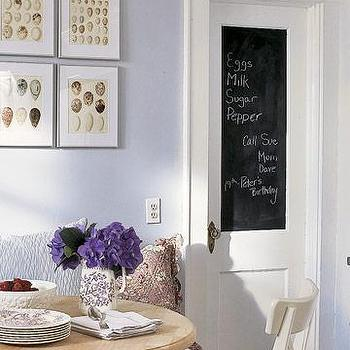 dining rooms - chalkboard paint, chalkboard door, chalkboard paint on door,  Blue Grey Casual Dining - Chalkboard Door, lilac walls paint color,