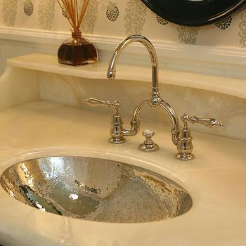 Giannetti Home - bathrooms - hammered sink, hammered metal sink, hammered oval sink, bridge faucet, bridge bathroom faucet, white marble vanity top, Hammered Sink,