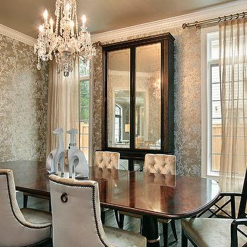 Oxford Development - dining rooms - metallic wallpaper, dining room wallpaper, mirrored armoire, mirrored cabinet, tufted dining chairs, velvet dining chairs,