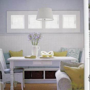dining rooms - farmhouse table, farmhouse dining table, white farmhouse table, white farmhouse dining table, beadboard backsplash, built in banquette,