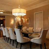 Giannetti Home - dining rooms - dining chairs, tufted dining chair, nailhead dining chairs, nailhead tufted dining chair, ivory dining chair, ivory tufted dining chair, glass top dining table, grasscloth, dining room grasscloth, John-Richard Collection Silver-Plated Chandelier,
