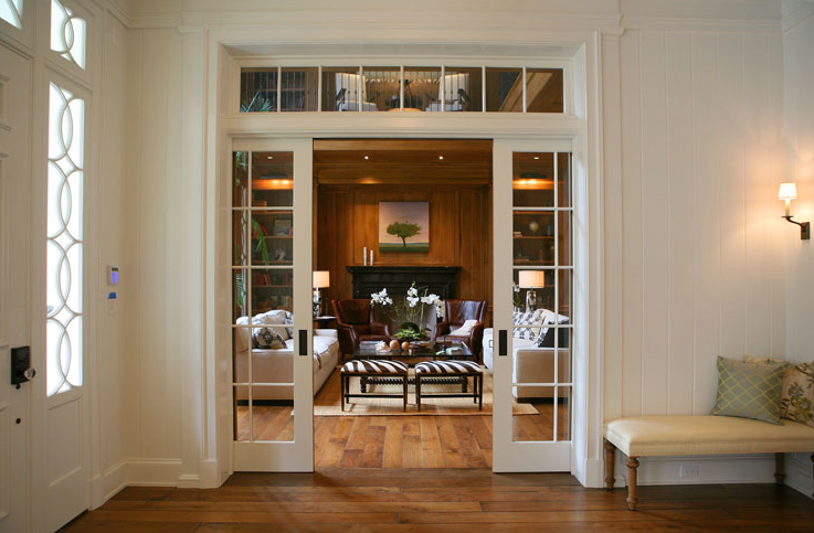 pocket doors with glass panes 2