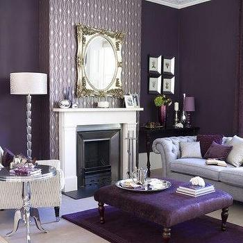 living rooms - purple sofa, purple sofas, purple chesterfield, purple chesterfield sofa, purple ottoman, purple walls, purple living room, fireplace accent wall, venetian mirror, aluminum wine table, purple lamp, purple lamp shade, purple pillows, purple rug, Aluminum Wine Table,