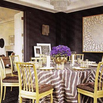dining rooms - zebra tablecloth, yellow dining chairs, gray zebra tablecloth,  Jacques Grange  gray black yellow eclectic dining room design