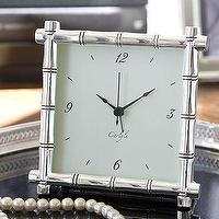 Decor/Accessories - Silver-Plated Bamboo Clock | Pottery Barn - faux bamboo, clock