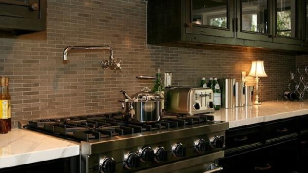 Brown KItchen Backsplash  Contemporary  kitchen  Jeff Lewis Design