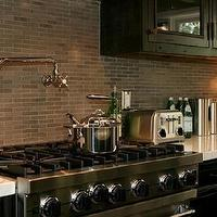 Jeff Lewis Design - kitchens - black, stainless steel, pot filler, appliances, brown, gray, mini, subway tiles, white, carrara, marble, countertops, black, rustic, kitchen, cabinets, glass-front, kitchen cabinets, oil-rubbed bronze, pulls, knobs, hardware, toaster, kitchen,
