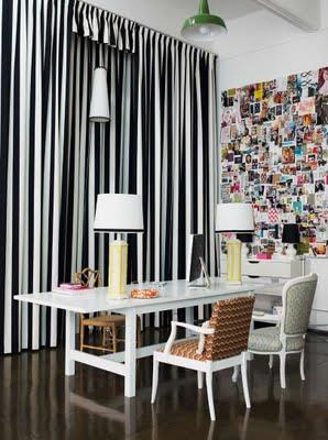 dens/libraries/offices - black, and, white, stripe,  gorgeous curtains