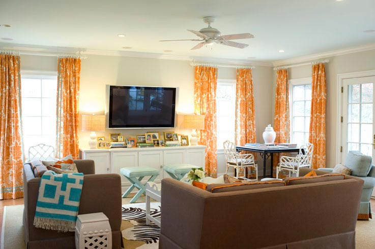 Palmer Weiss - living rooms - Richard Nixon Throw, damask, orange, curtains, chocolate, brown, sofa, chairs, Jonathan Adler, turquoise, blue, Greek, key, throw, blue, x-bench, orange, brown, turquoise blue, living room, orange curtains, orange drapes, orange window panles, orange damask curtains, orange damask drapes, orange damask window panles, damask curtains, damask drapes, damask window panels,