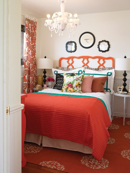Orange Drapes - Contemporary - bedroom - House & Home