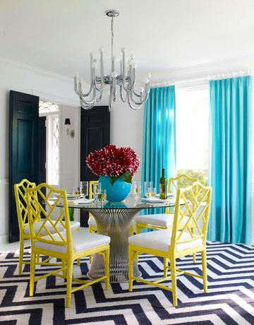dining rooms - Chippendale Chair Herringbone Rug zigzag chevron rug turquoise blue silk drapes yellow faux bamboo chairs black doors white black yellow turquoise blue dining room