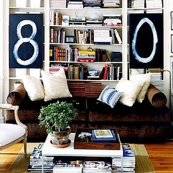 Domino Magazine - dens/libraries/offices - obookshelves, daybed, velvet daybed, brown daybed, brown velvet daybed,  This was an article on small
