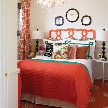 House & Home - bedrooms - orange drapes, orange curtains, orange window panels, orange rug, madeline weinrib rug, orange headboard, greek key shams, teal shams, teal greek key shams, round bedside tables,