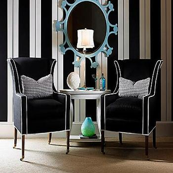 entrances/foyers - foyer wallpaper, wallpaper for foyer, striped wallpaper, black and white wallpaper, stripe wall, striped wall, black and white striped wall, white and black striped wall, vertical striped walls, black and white vertical striped walls, black and white chairs,