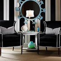 entrances/foyers - turquoise, blue, mirror, black, white, vertical, striped, wallpaper, black, wingback, chairs, white, piping, white, table, , foyer wallpaper, wallpaper for foyer, striped wallpaper, black and white wallpaper, stripe wall, striped wall, black and white striped wall, white and black striped wall,