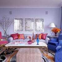 Drake Design Associates - living rooms - violet, sofa, purple, chairs, brass, marble, top, coffee, table, pink, chair, purple, walls,  Violet,