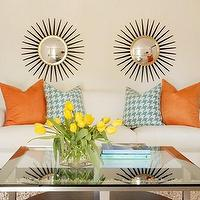 Tobi Fairley - living rooms - silver, starburst, mirror, orange pillows, orange, side, tables, baby, blue, houndstooth, pillows, white, sofa, glass, top, chrome, coffee, table, white, lamps, baby, blue, lamp, shades, shag, rug, orange, turquoise blue, living room,