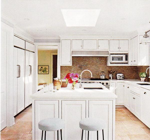 kitchens - white, kitchen cabinets, carrara, marble countertops, counter tops, stainless steel, faucets, knobs, pulls, hardware, sink, bown, green, bronze, glass tiles, backsplash, glass, light pendant, white, round, stools, sky light, skylight, pot filler, kitchen,
