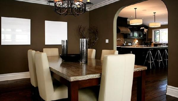 Jeff Lewis Design - dining rooms - dining chairs, crown molding, taupe green walls, paint colors, dining room, taupe walls, taupe dining room, taupe walls, taupe dining room, leather dining chairs, cream dining chairs, cream leather dining chairs, parsons dining chairs, leather parsons dining chairs,