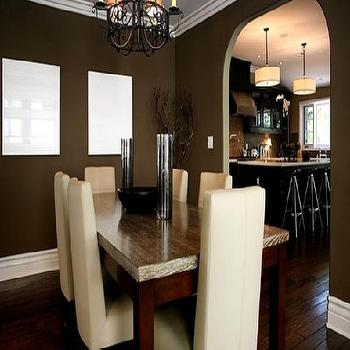 Taupe Dining Room, Contemporary, dining room, Jeff Lewis Design