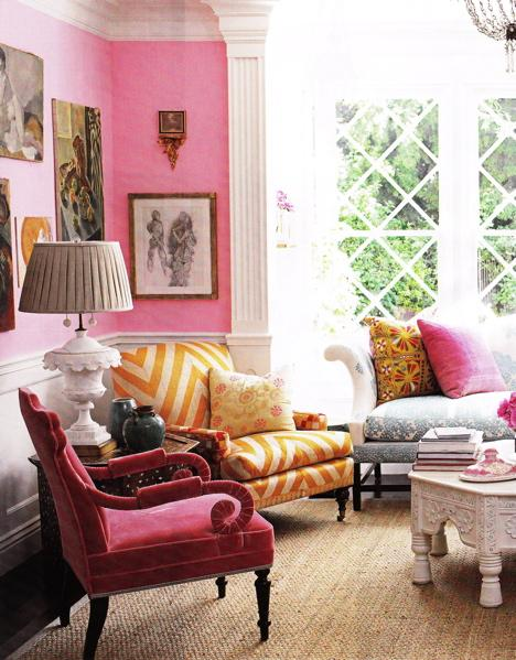 Suzie:  Windsor Smith Home. Pink living room!   Pepto Bismol Pink! White wainscoting, pink walls ...