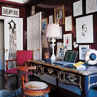 Elle Decor - dens/libraries/offices - gloosy, brown, walls, lacquer, Elle, Miles Redd, zebra, brown, ornate, modern, zebra, cowhide rug, eclectic, art gallery, antique, desk, red, chair and white lamp.,