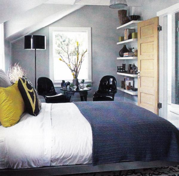 blue yellow gray bedroom contemporary bedroom