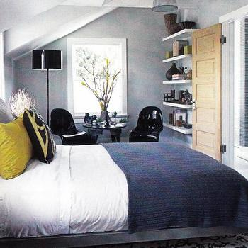 bedrooms - blue yellow gray bedroom, blue and yellow bedroom, blue and gray bedroom, blue and yellow bedroom, , ikea lack, ikea shelves, blue and yellow bedding, blue blanket, yellow pillows, black panton chairs, panton chairs, black floor lamp, Panton Chair,
