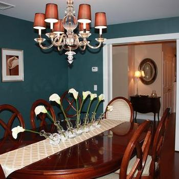 dining rooms - dining room, teal walls, teal wall paint, teal paint colors,  dining room