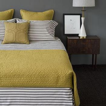 bedrooms - yellow and gray bedroom, gray and yellow bedroom, gray and yellow bedrooms, yellow and gray bedroom design, gray and yellow, yellow and gray, dwell studio bedding, striped sheets, striped bedding, yellow quilt, striped pillow cases,
