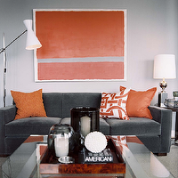 Ron Marvin - living rooms - gray, orange, velvet, modern, sofa, brown, wood, accent, table, glass, chrome, coffee table, orange, gray, abstract, art, chrome floor lamp, lamp, silk, orange, geometric, throw pillows, silver table, lamp, smoke, gray, glass, hurricanes, gray, orange, blue, living room, gray and orange room, gray and orange living room, orange and gray room, orange and gray living room,