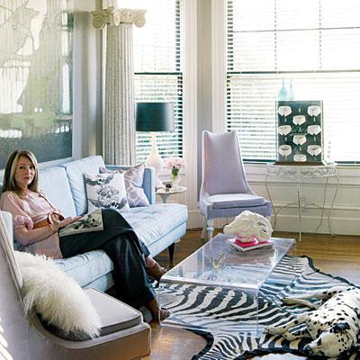 Living Room  on Living Rooms   Zebra Rug Lucite Coffee Table Chic Living Room   Zebra