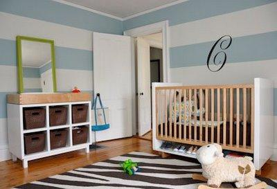 Striped Nursery - Contemporary - nursery - Shelter Interior Design