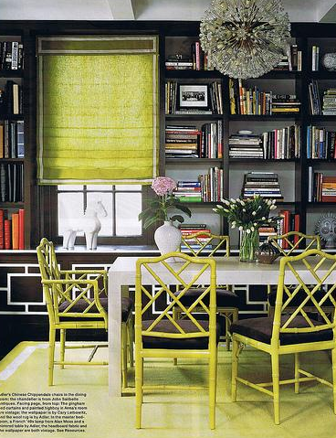 Jonathan Adler - media rooms - bamboo chairs, green bamboo chair, faux bamboo chair, green faux bamboo chairs, bamboo chair, chinese chippendale chair, chippendale chair, green chippendale chair, green chinese chippendale chair, white parsons table, built in bookcase,